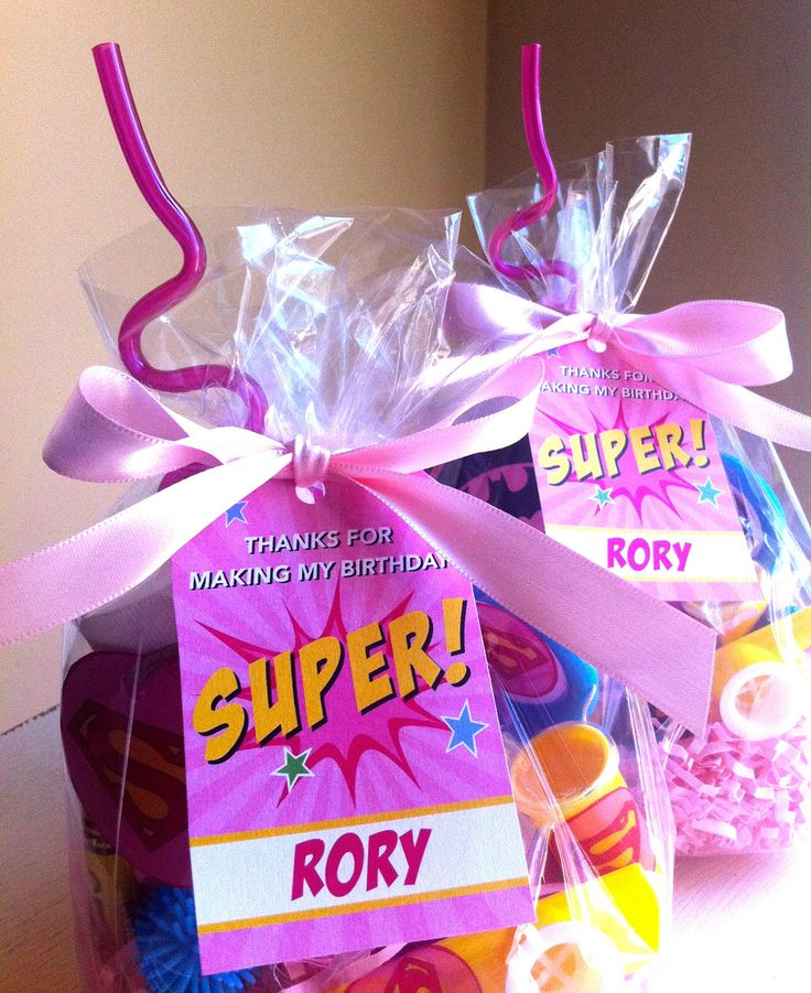Superhero girl favors. But I'd like it better if it said u saved the day