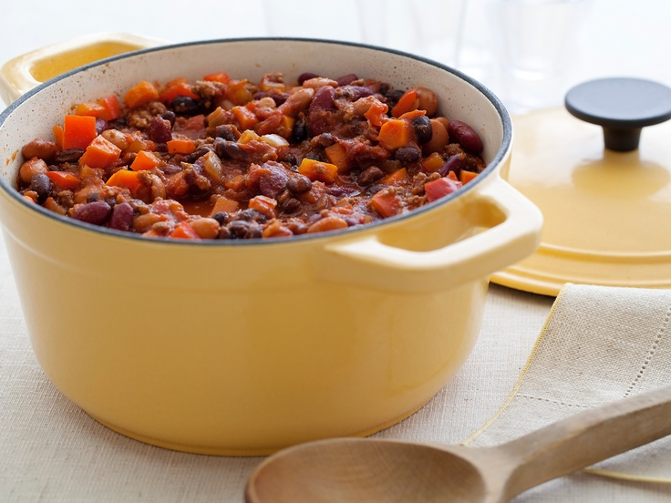 Three Bean and Beef Chili from FoodNetwork.com: Food Network, Dutch Ovens, Chilis Recipes, Ellie Warrior, Ground Turkey, Cooking Channel, Three Beans, Beef Chilis, Beans Chilis