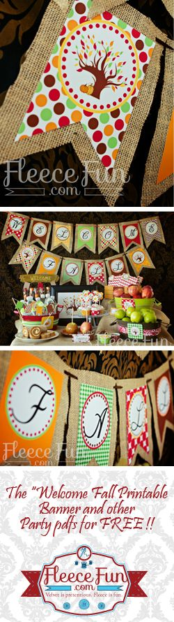 Welcome fall bannerI love this welcome fall banner.  This autumn decor looks easy to DIY and perfect for a mantle.  She has a bunch of coordinating printables to go with it too!