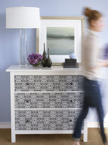 refinish dresser drawers with wall paper...the girls' dresser needs this so bad and come to think of it, the boys does too!