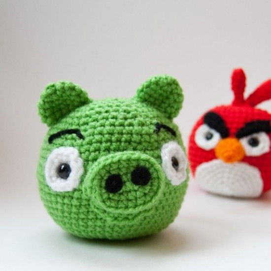 Crocheted Angry Birds characters #funny