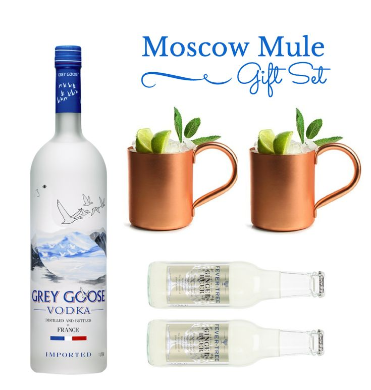 moscow mule gift set with 2 copper mugs grey goose vodka merchandise pinterest giftss. Black Bedroom Furniture Sets. Home Design Ideas