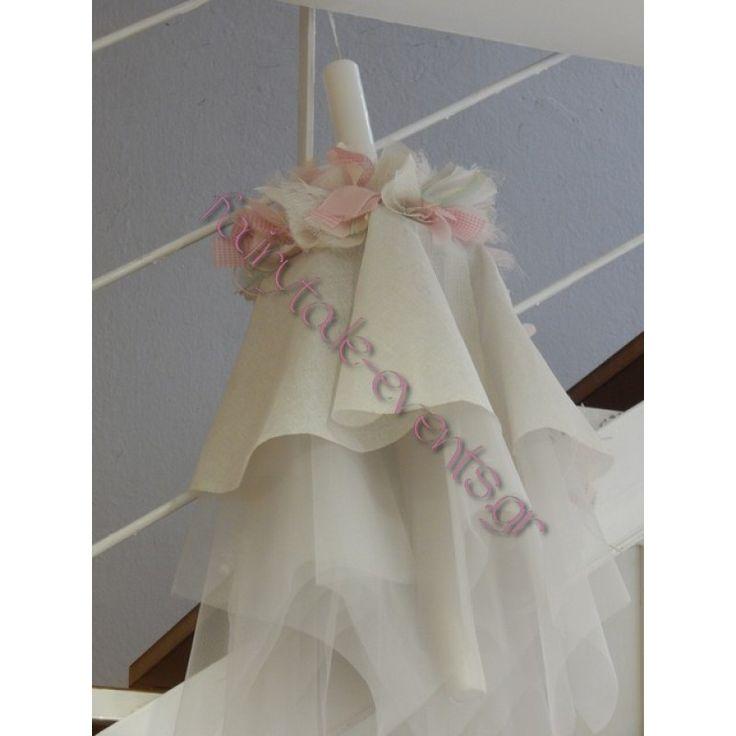 Λαμπάδα βάπτισης κορίτσι ρομαντικά λουλούδια