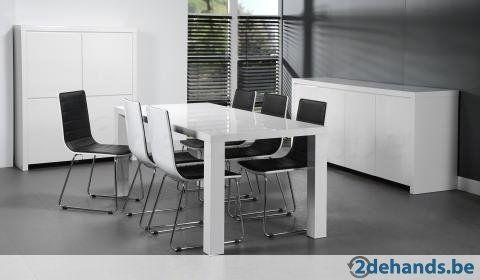 Eetkamer Wit Lak + 6 stoelen 800€ ipv 1600€ nieuwst 1j oud - Te koop