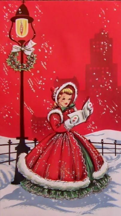 A young lady in holiday dress sings Christmas carols on this vintage holiday card.