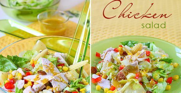 салат из курицы, салат с ананасом и курицей, салаты рецепты с курицей, салат с курицей и кукурузой