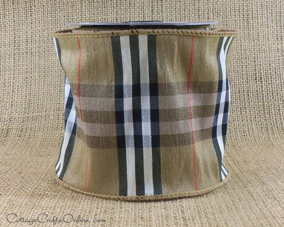 Burberry Style Plaid Black White And Red On Tan 4 1 2