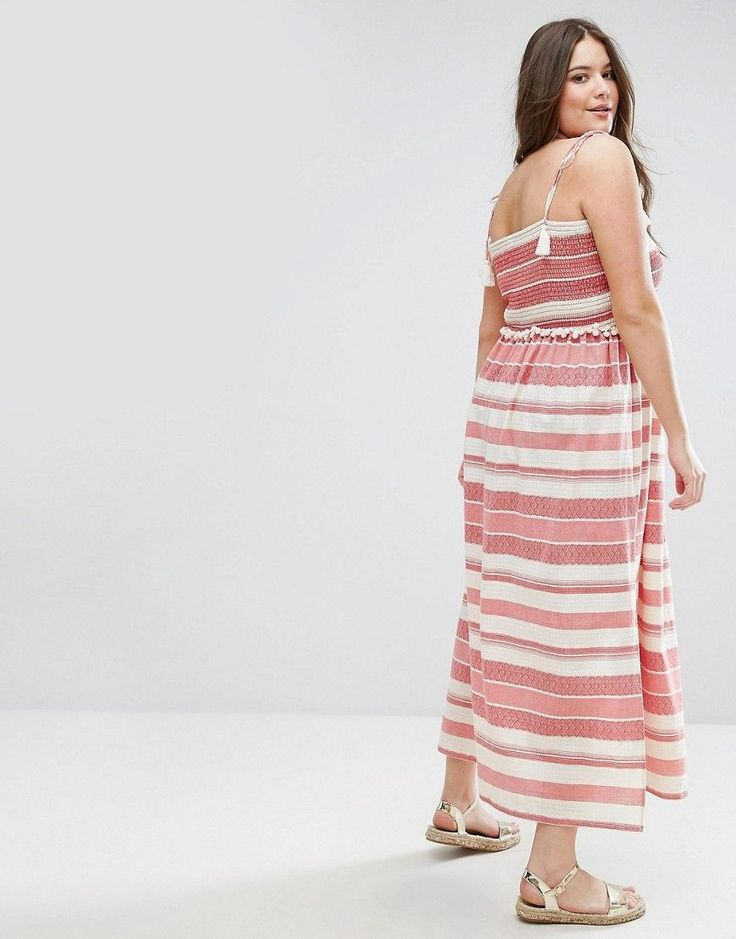 ASOS CURVE Stripe Maxi Dress With Pom Pom and Shirring Details - Multi