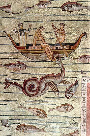 Aquileia. Mosaico dalla basilica con scena di Giona