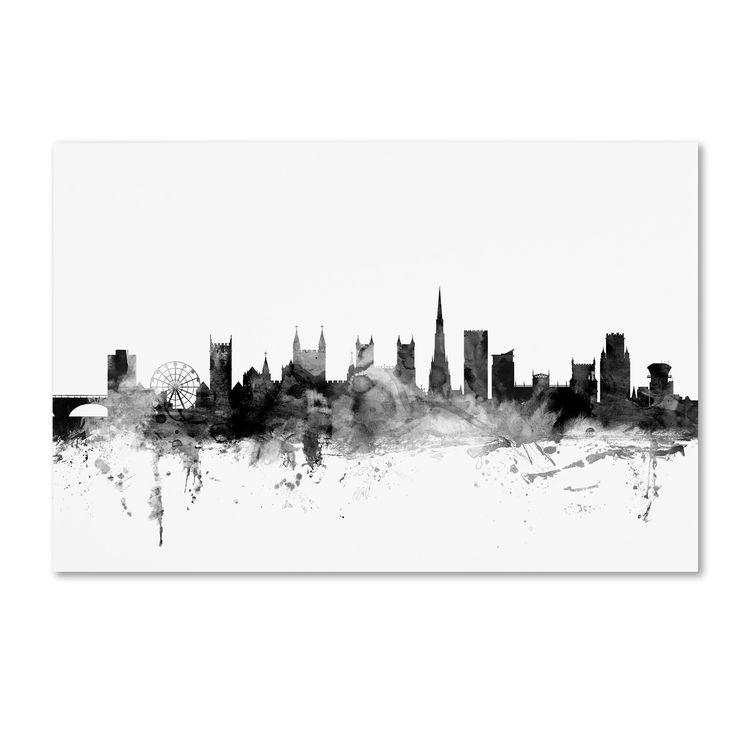 Michael Tompsett 'Bristol England Skyline B&w' Canvas Art