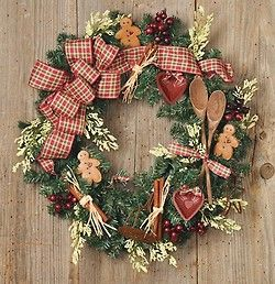What a great idea -- a kitchen Christmas wreath to go with my kitchen Christmas tree!