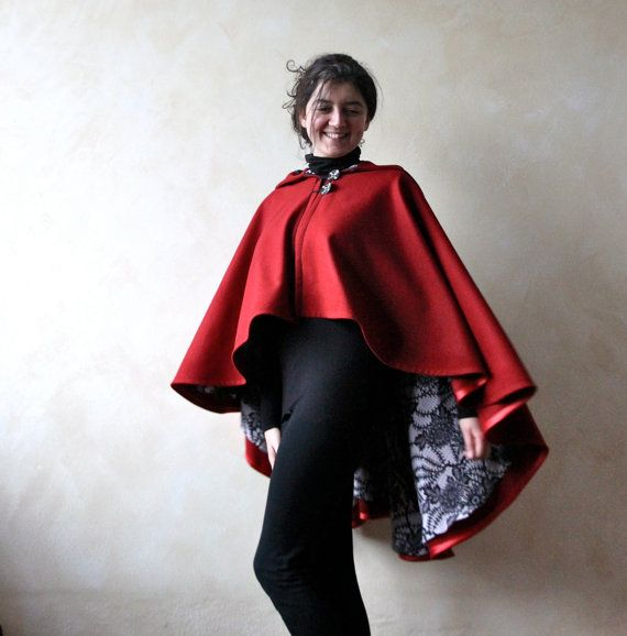 Red cape hooded cape wool cape wool cloak red poncho by LoreTree