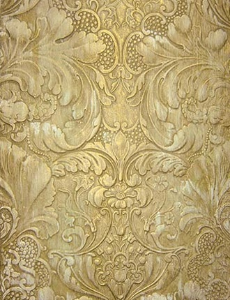 stenciled  ...lincrusta-distressed-gold