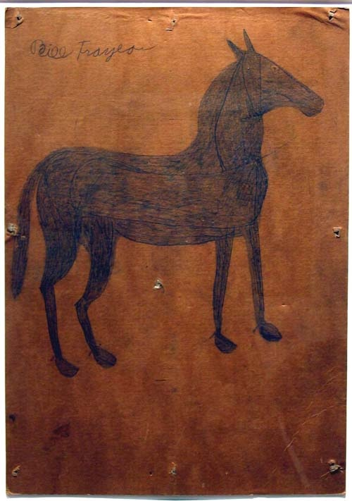 Bill Traylor (1854-1949). Horse. Poster Paint and Pencil on Cardboard. Circa 1939-1942.