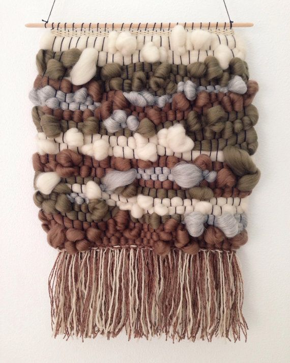 Hand Woven Wall Hanging / Weaving / Tapestry - Large Neutral Roving on Etsy, $110.00