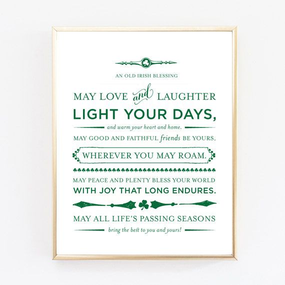 An Old Irish Blessing Print Wedding Gift by PattiMurphyBoutique