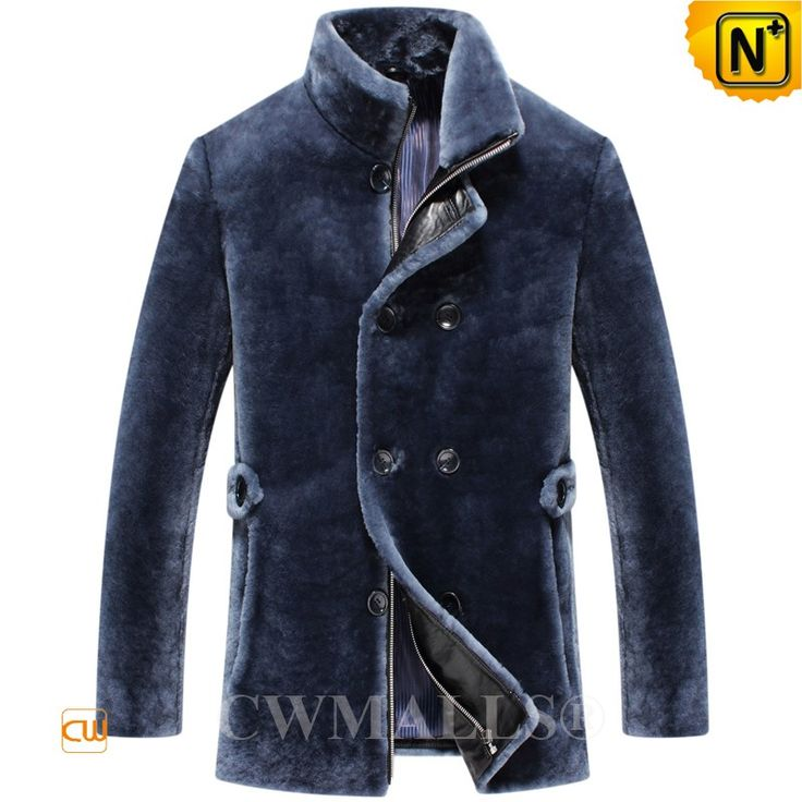 CWMALLS® Men Double Breasted Shearling Jacket CW807053 ( updated styles 2017)    Classic men's double breasted shearling jacket crafted from Turkey plush shearling sheepskin which is soft, comfort and extremely warm, CWMALLS shearling pea coat jacket designed in stand collar, double breasted, full zip under the placket with button.  www.cwmalls.com
