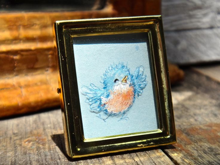 Frame, 1 x 1 Frame, Brass Frame, Tiny Frame, Made in Korea, Blue Bird, Watercolor Art, Floral and Fauna Art, Place Card, Small Frame by CasaKarmaDecor on Etsy