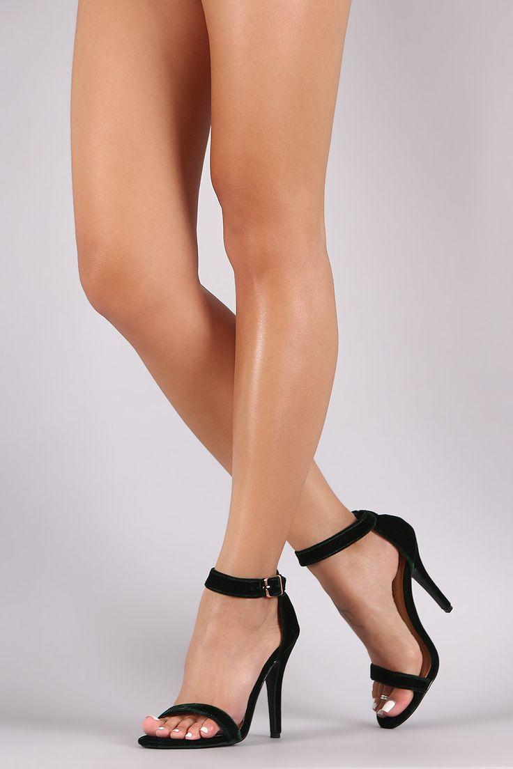 Anne Michelle Velvet Open Toe Ankle Strap Heel