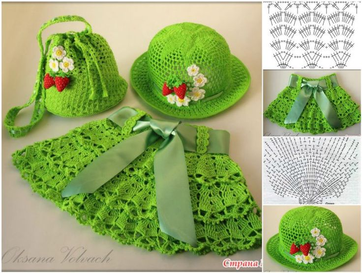 Crochet skirt & hat &bag set, HOW PRETTY !  FREE PATTERN--> http://wonderfuldiy.com/wonderful-diy-crochet-skirt-hat-bag-set-for-little-girls/ #DIY #crochet #freepattern