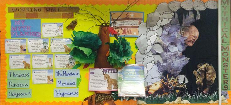 Greek myths and legends display board.