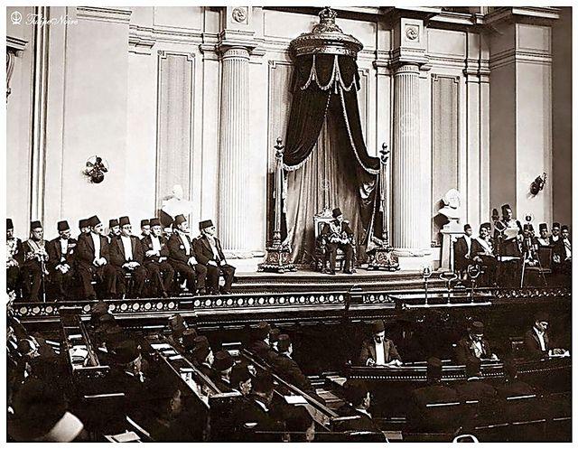H.M. King Farouk I of Egypt In Parliament Listening to Moustafa El-Nahhas Pasha's Speech In 1937