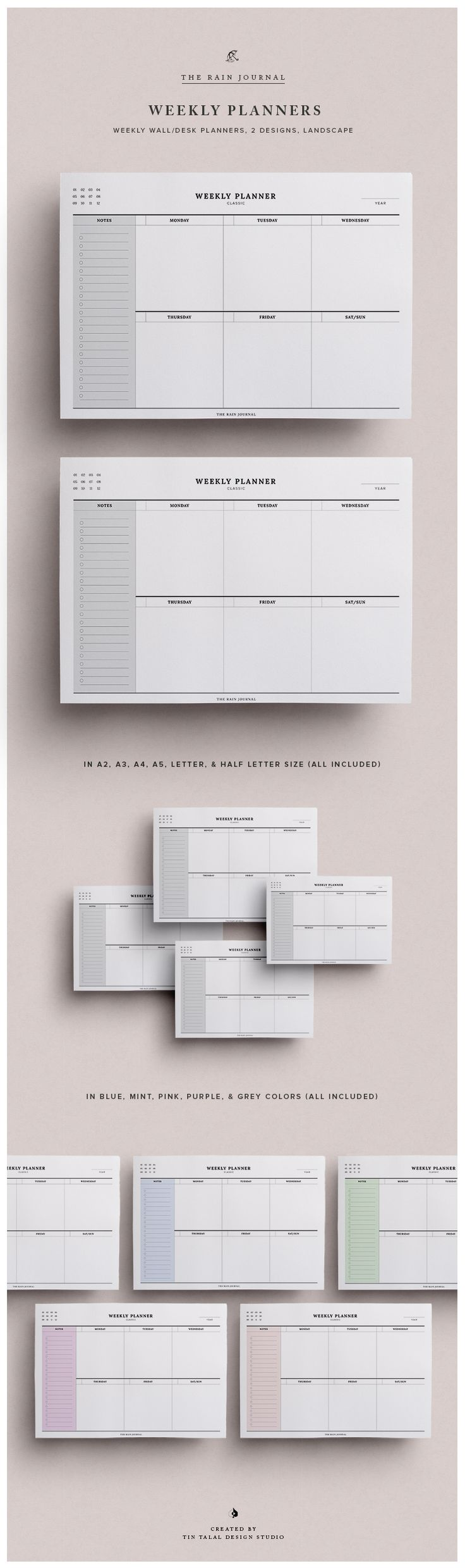Printable Weekly Organizer for desk or wall. It can also be inserted in you favorite planner! Undated Weekly Planner, Weekly Agenda, Weekly Organizer, Weekly Planner Pages, Weekly Planner Insert, A5 Weekly, Wall Planner, Desk Planner