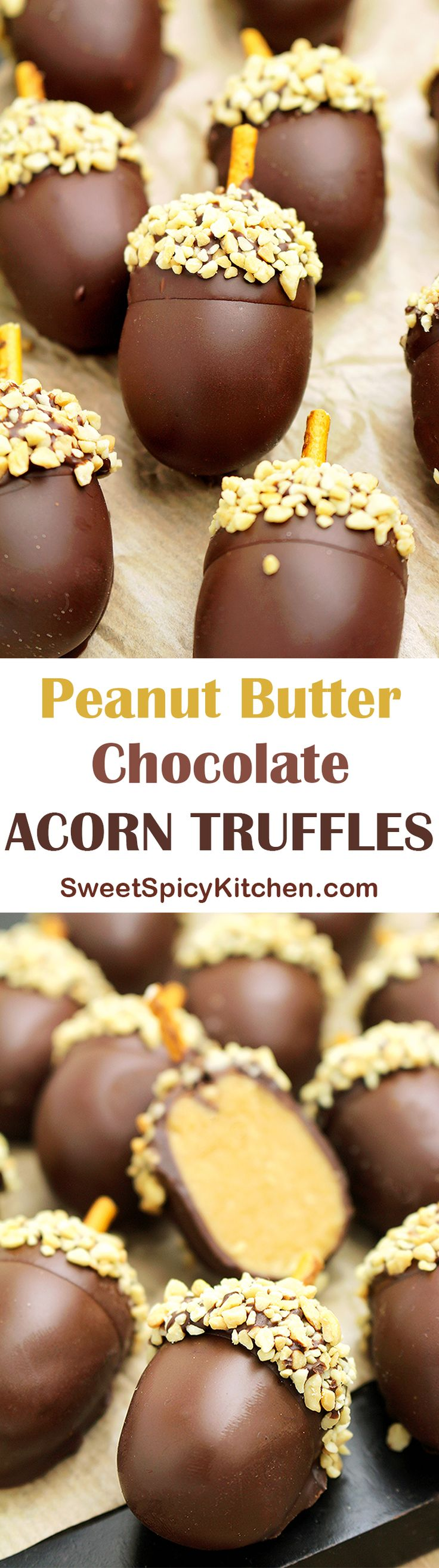 Looking for a perfect fall dessert? I was going through my cook book and found this recipe that I would like to share with you – Peanut Butter Chocolate Acorn Truffles ♥