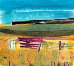 Barbara Rae | Bog Field at Ceide | mixed media on paper | 23 x 25 inches.