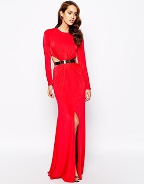 $505, Forever Unique Gold Belted Maxi Dress With Thigh Split. Sold by Asos.