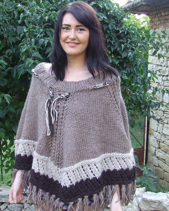 Chunky knit poncho  Knitted fringed poncho  Chunky by WoolieBits
