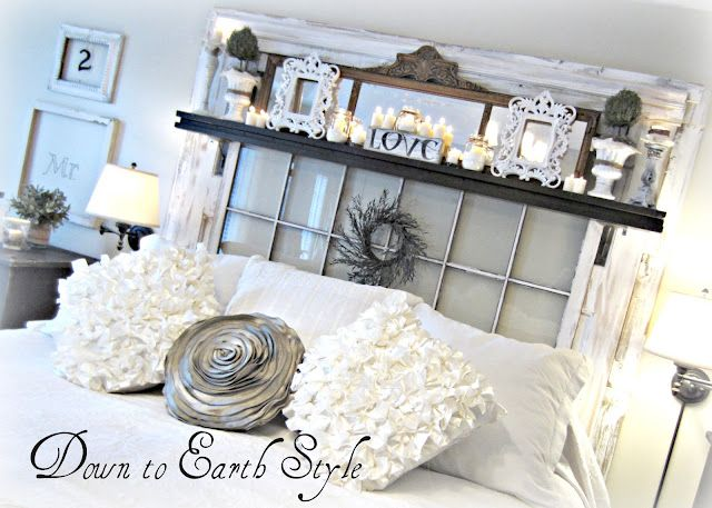 Old window headboard... LOVE this!!