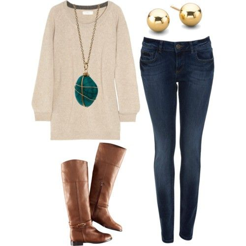 This would look better with dark brown flats, or turquoise TOMS.: Skinny Jeans, Style, Over Sized Sweater, Fall Outfits, Fall Fashion, Big Sweater, Fall Winter, Necklace