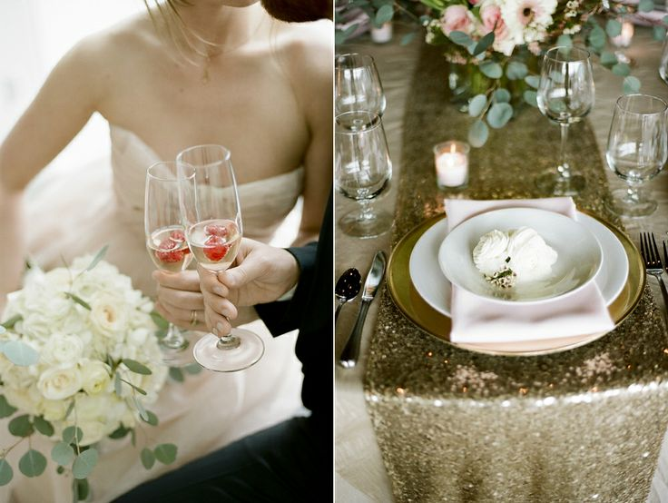 Blush Pink & Champagne Wedding Inspiration -gold sequin table runner - Jenna Henderson, Photographer