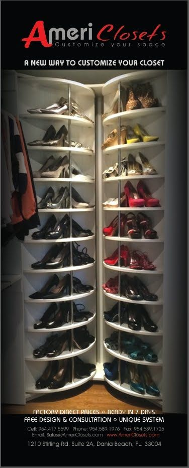 The best closet organizing system I have ever seen!! Lazy Lee - Spinning Shoe Rack closet system - www.LogicalDesignConcepts.com