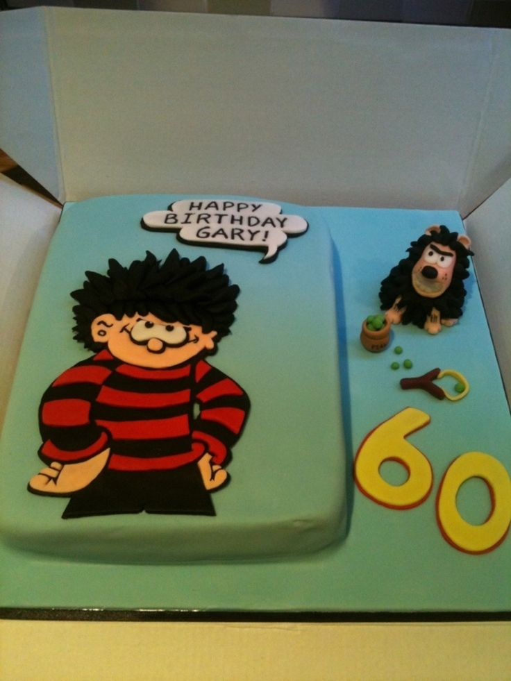 Dennis The Menace Birthday Cake With Gnasher And Pea Shooter Detail