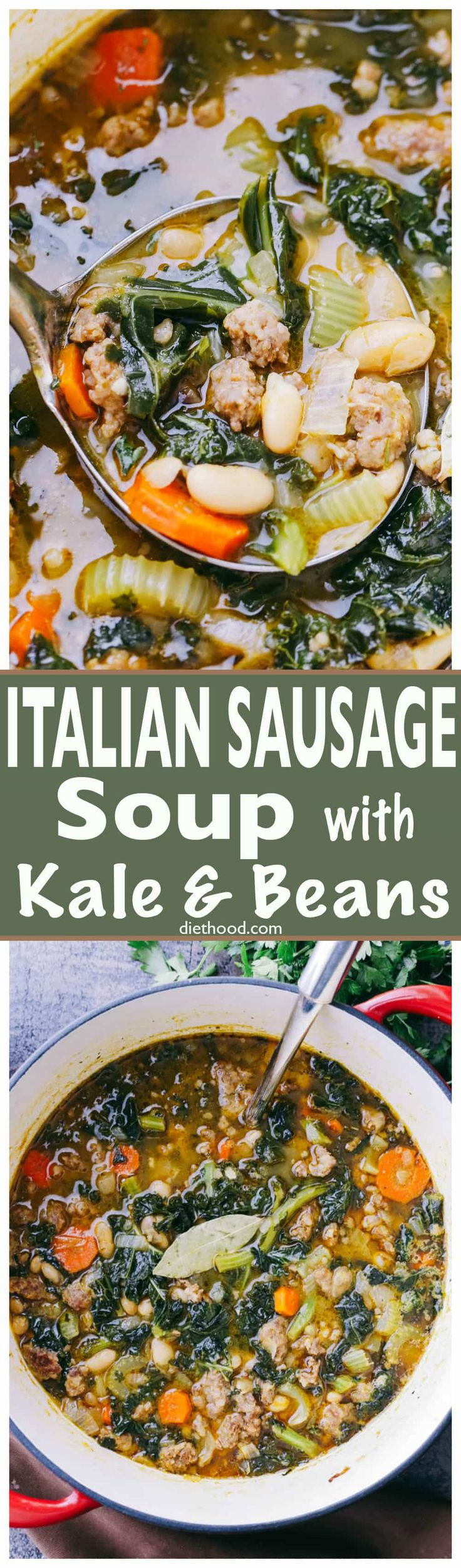 Italian Sausage Soup with Kale and Beans - Hearty and incredibly delicious soup prepared with Italian Sausage, onions, garlic, kale, and beans! via @diethood