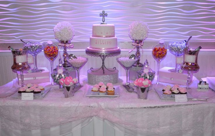 Pink And White Communion Candy Buffet Table Candy Bars