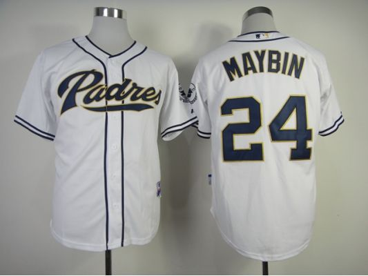 MLB San Diego Padres 24 Cameron Maybin White Jersey