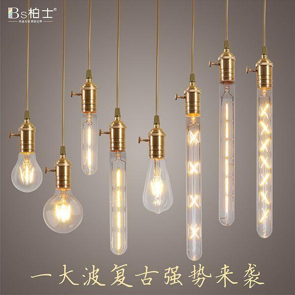 Эдисон Светодиодная лампа старинные лампы накаливания накаливания диммер E27 винт ST64 4 Вт 110V 220V
