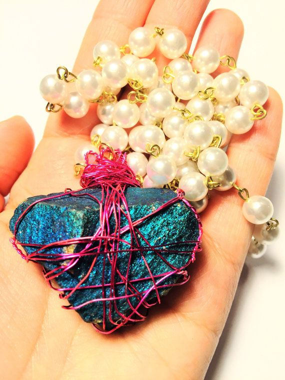 Natural peacock ore wire wrapped pearl necklace by for Custom made jewelry stores