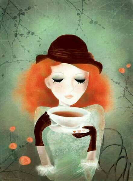 Enjoying a soul soothing cup of tea... :-) || Red hair, Derby hat, & gloves