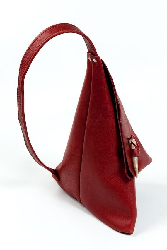 Red Leather Triangle Street Bag by talithaleather on Etsy