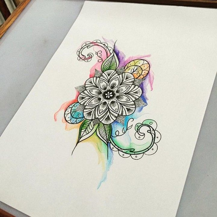 #mandala #dotwork #watercolor #watercolour #painteffect #fab…