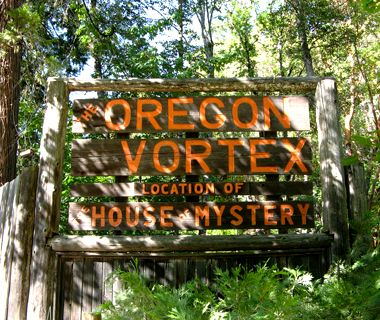 "Kitschy Roadside attractions. The Oregon Vortex, Gold Hill, OR.  Natural wonder, elaborate hoax, or paranormal zone? At the Oregon Vortex, it's up to visitors to decide. For $9.75, you get to experience the Vortex's ""spherical field of force,"" which results in a world in which brooms supposedly stand up by themselves and two people can become a different height just by switching places"