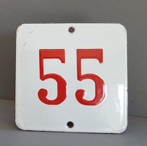 55 Door Number Plaque Vintage French Enamel Sign 3 54 Inches French Enamel French Vintage House Numbers