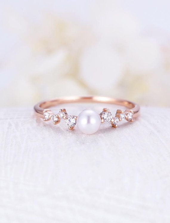 Diamond Cluster Ring Pearl Engagement Ring Rose Gold Mini Unique