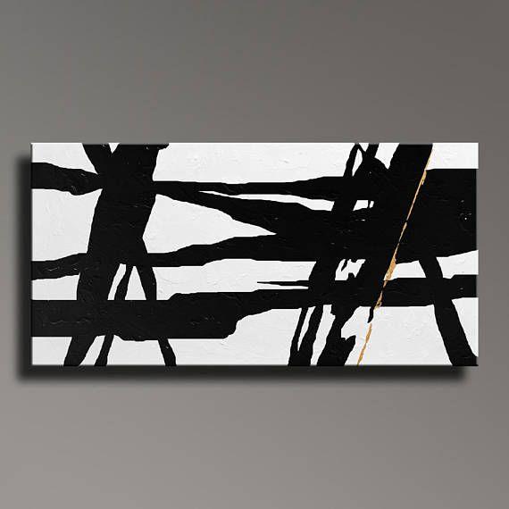 Tableau Noir Or Blanc Peinture Moderne Grand Mur Art Contemporain Toile Art Acrylique Peinture Home Decor Minim Original Canvas Art Contemporary Art Canvas Art