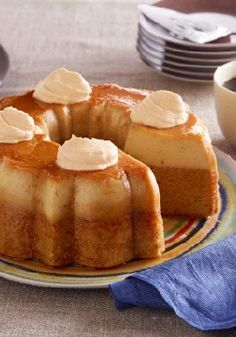 Pumpkin Flan Cake — In this tasty pumpkin hybrid dessert recipe, you get two favorites—cake and flan—in one, topped with creamy dollops of COOL WHIP Whipped Topping.