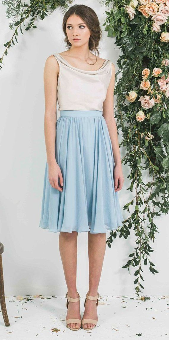 a25f332d4569a Chiffon blue skirt, midi skirt in 2019 | Products | Blue skirt ...